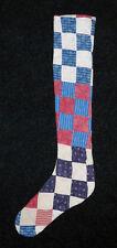PRIMITIVE ANTIQUE CUTTER QUILT LONG Skinny Christmas Stockings! BLUE/BURGUNDY