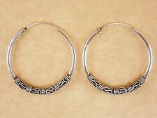 New Oxidized Genuine 925 Sterling Silver Byzantine Bali Round Hoop Earrings 30mm