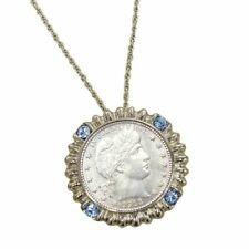 NEW Silver Barber Quarter Silvertone Blue Crystal Coin Pendant 6144