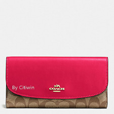 New Authentic Coach F57319 PVC and Leather Checkbook Wallet Khaki / Bright Pink
