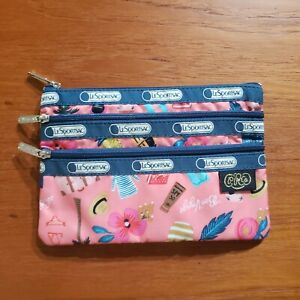 LeSportsac Rifle Paper Co 3 Zip Cosmetic Pouch Tropical Voyage
