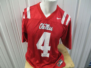 VINTAGE NIKE OLE MISS REBELS BRANDON MACKS #4 MEDIUM FOOTBALL RED JERSEY PREOWN