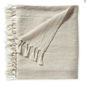 NWT Serena & Lily Ivory Topanga 100% Linen Throw Blanket with Tassels