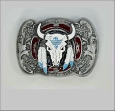 Skull Gürtelschnalle Stier Horns Western Floral Ornament Cow Belt Buckle *091
