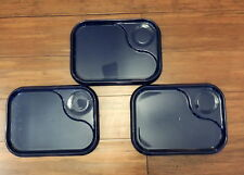 3 Melamine Plastic TV Trays Food Dinner Lunch Blue Divided Compartment Cafateria