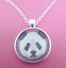 Cara Panda Diseño De Triángulo Colgante De Plata Collar De Cristal Nuevos En Bolsa De Regalo
