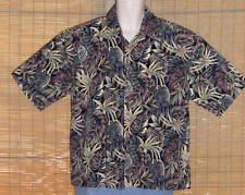 Pierre Cardin Hawaiian Shirt Purple Blue Tan Gray Tropical Leaves Size Large