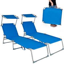 2 x Chaise longue de jardin pliante transat bain + pare soleil bleu