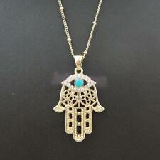 Boho Evil Eye Hamsa Fatima Hand Gold Necklace Pendants Crystal Jewelry Charm