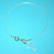 Sterling Silver 925 Fine Chain BRACELET with Small Cut Out CROSS Charm