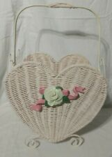 White Wicker Carry / Storage Basket with Metal Handle