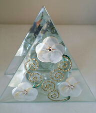 Tea Light Candle Holder Mirrored Glass Floral Hand Painted Gift Wedding Home