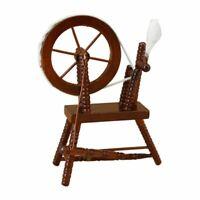 Puppenhaus-Miniatur-Handspulmaschine im MaßStab 1:12, Holzspinnrad Braun J8K8