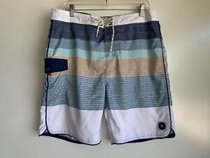 "RIP CURL Men's Blue White Tan Striped  20"" SWIM Surf Board SHORTS Size 36"