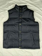 Large - Lands End Mens Navy Blue Snap Front 2 Pocket Goose Down Puffer Vest EUC
