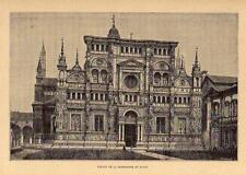 1881= PAVIA = Italia = Stampa Antica = Old Engraving