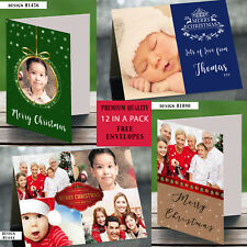Personalised Christmas Cards Xmas Cards Folded A6 Photo - Blank Inside x 12