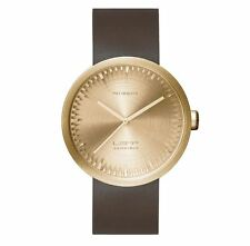 NEW LEFF AMSTERDAM TUBE WATCH D42 WITH BROWN LEATHER STRAP ANALOG DISPLAY BRASS