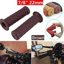 "2PCS 7/8"" 22mm Rubber Handlebar Hand Grip For Motorcycle Bike Cafe Racer Brown K"