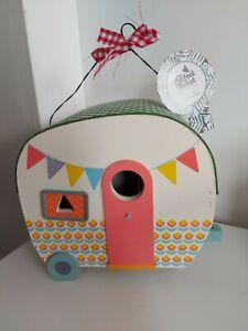 Wooden Decorated Caravan Bird House Box
