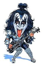 "Kiss Gene Simmons ""The Demon"" Caricature 70's-80's Heavy Metal Sticker or Magnet"