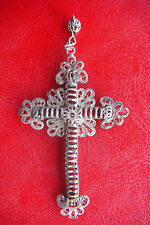 FILIGREE SILVER ANTIQUE BEAUTIFULLY DETAILED FRANCE LARGE CROSS