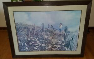 "VINTAGE CAROLYN BLISH Signed *Lithograph ""Picking Daisies"" 1968 Framed Art Work"