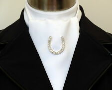 Brooch - Horse Shoe Silver Crystal Rhinestone Stock Pin Brooch - Free Postage Au
