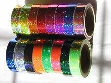 16 Different Color Glittering Tapes, 1 inch x 25 ft, Holographic Sparkle 4 Hoops