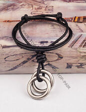 Vintage Sliver Rings Pendant Men's Surfer Beach Leather Choker Necklace Black