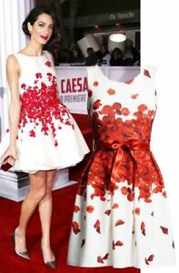 NEW AMAL CLOONEY INSPIRED ITALIAN DESIGNER RED FLORAL PETALS DRESS -SIZE 8 10 12