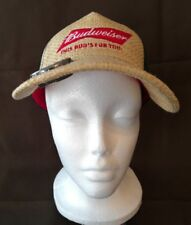 Budweiser Baseball Hat Cap This Bud's For You Woven Straw w/ Bottle Opener Beer