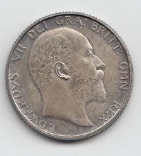 Muy raras Eduardo VII 1902 Carbono chelín plata prueba 1/-