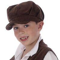 Child Boys Victorian Kids  Brown Urchin Tudor Fancy Dress Hat Flat Cap BH497