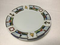 """3 American Atelier Anchors Away Lighthouses Dinner Plate 10 1/2"""" Set of 3 Plates"""