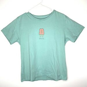 Life is good Women's Medium Crusher T-Shirt Turquoise Chill. Popsicle