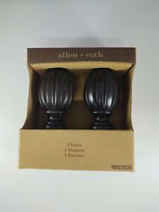 Allen and Roth Wood Finials Screw on Curtain Rod Oval Finials 0622938 (One Pair)