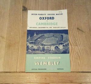 1959 Inter-Varsity Soccer Match Oxford v Cambridge Official Programme