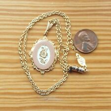 Dusty Pink Rose Lavalier 1928 Jewelry Pendant Necklace Vintage