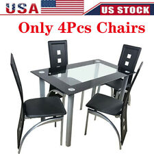 4Pcs Dining Chairs Pvc Leather High Back Ergonomic Curved Back Dining Room Home
