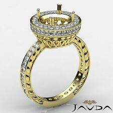 Diamond Engagement Filigree Ring Round Semi Mount 14k Yellow Gold Halo Pave 1Ct