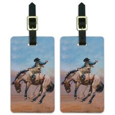 Saddle Bronc Horse Cowboy Riding Rodeo Event Luggage ID Tags Cards Set of 2