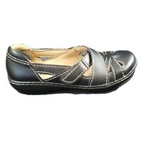 Clarks Ashland Womens Shoes Size 5.5 Leather Sandals Slip On Black Comfort Wedge