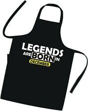 """LEGENDS ARE BORN IN """" December """" BIRTHDAY Cooks / Chefs Apron / Tabard / BBQ"""