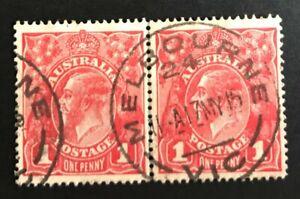 Australia 1d Red KGV Die 1 & 2 joined pair - Nice used.