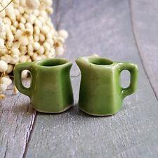 2 Ceramic Green 6 Sided Water Jug Dollhouse Miniature Food Tableware Kitchenware