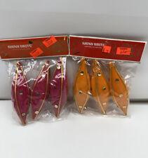Vintage Shiny Brite Felt Teardrop Pink Orange Christmas Decorations Ornament Nos