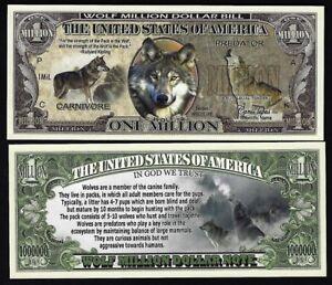 new Wolf Million Dollar Bill Play Funny Money Novelty Note + FREE SLEEVE