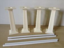 Four 11.5cm Square Cake Tier Pillars With Dowels In Ivory. Nearly New.