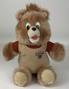 "Vintage Teddy Ruxpin Bear Non Talking Plush 14"" Plush Stuffed Toy with Vest 80s"